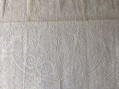 """FABULOUS Antique French Matelese Bed Coverlet 90x102"""" 19th Cent.  E148"""