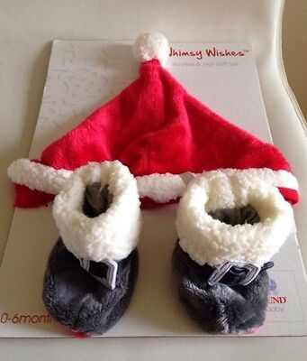 Baby Christmas booties and hat set