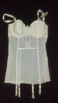 Victoria Secret Lingerie Teddy Babydoll Bride I Do White Sheer Lace NEW 36C