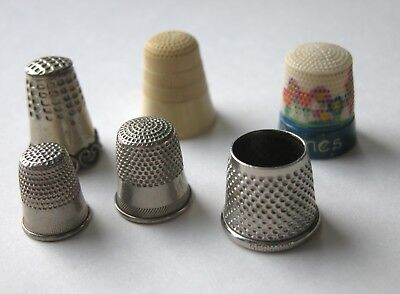 6 Vintage Thimbles Including Tailor's, Mexico, Charming Hand-Painted & Childs