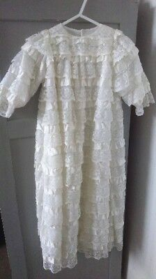 Vintage English 60's-70's Unisex Baptism/Christening Gown/Lace-satin 0-6 Mths