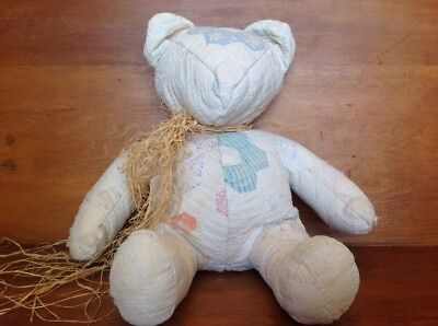 Stuffed Quilted Animal Bear Made From Antique Vintage Quilt