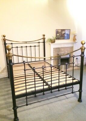 Black And Gold Metal Brass Double Bed Frame 110 00 Picclick Uk