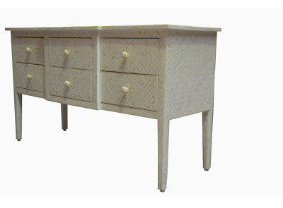 Bone Inlay Eye Design 6 Drawer Dresser in White