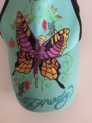 NWOT Ed Hardy By Christian Audigier Kids Black Turquoise Butterfly Fairy Cap