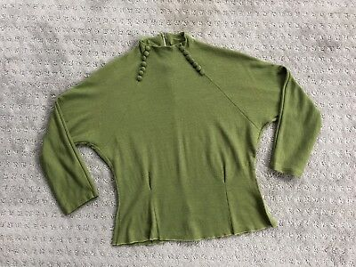 VTG 1940's Moss Green Sweater with High Zippered Collar, Covered Buttons, S/M