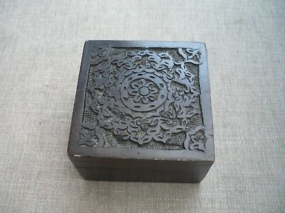 """Vintage pretty carved tiny box solid wood quality 4""""/4""""/2.5"""""""