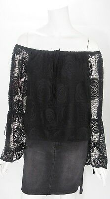 bebe Black Rose Lace Long Sleeve Multi Ways 2 Wear Top Blouse Shirt Sz S NWT