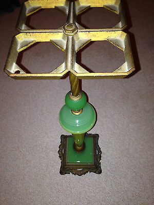 1920's Vintage Antique cast Iron & Jadeite and marble Smoking Stand