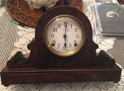 "ANTIQUE RUNNING SESSIONS  MAHOGANY SCROLLED TAMBOUR mantle CLOCK MODEL ""NO.1928"""