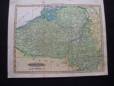 1828 Walker Map Belgium Netherlands Luxembourg Rare 189 Yr Old Antique