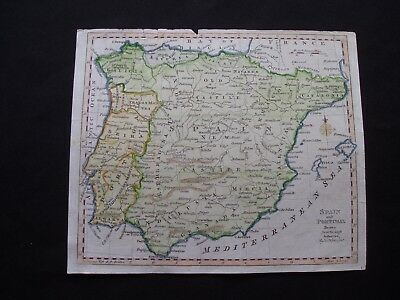 1764c Kitchin Map Spain and Portugal 253 Yr Old Antique Genuine Rare