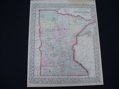 1867 Mitchell Atlas Map Minnesota 150 Yr Old Genuine Antique