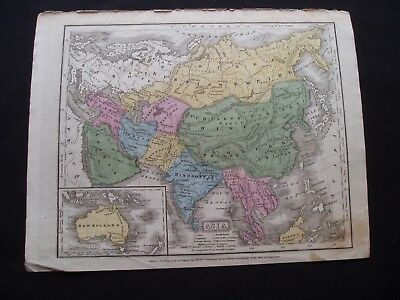 1821 Woodbridge Map Asia Middle East Australia - Rare 196 Yr Old Genuine Antique