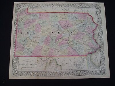 1867 Mitchell Atlas Map Pennsylvania 150 Yr Old Genuine Antique