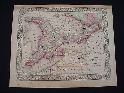 1867 Mitchell Atlas Map Ontario 150 Yr Old Genuine Antique