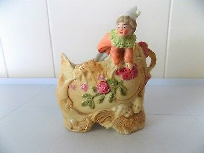 Antique Bisque Floral Spill Vase W/Clown/Jester-Man In The Moon & Angels-#7570