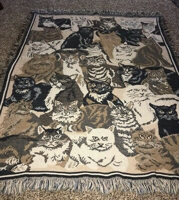Cat Throw Afghan Blanket Cotton Black White Calico Tiger Orange Kitty