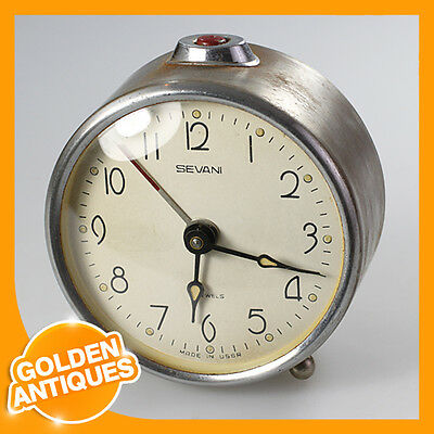 Old Rare Vintage Antique SEVANI VITIAZ CORSAR grey Metal ALARM CLOCK wind up