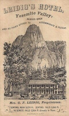 Rare Yosemite Valley trade card LEIDIG'S HOTEL, 1870s