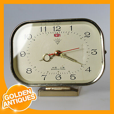 Old Rare Vintage Antique SHANGHAI DIAMOND metal wide ALARM CLOCK wind up