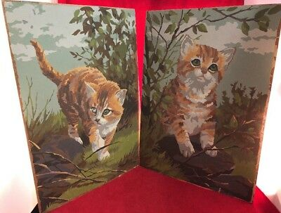 2 Vintage Paint By Numbers Orange Kittens In Nature Green Blue Brown Unframed