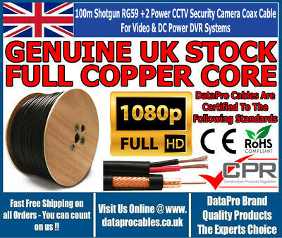 DATAPRO 100m CCTV Shotgun Cable RG59 Siamese Video + 2 Core Power in Black & Red