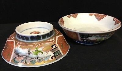 Pair of Matching Antique Chinese Hand Painted Porcelain Pin Dish