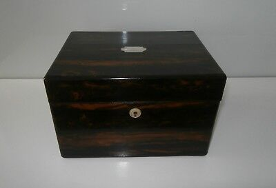 Quality Antique Coromandel Work Sewing Writing Box Complete Dated 1844