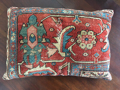 Vintage Antique 19th Century Large Persian Serapi Rug Pillow - Hollywood Regency