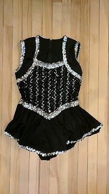 Algy Majorette Uniform Dress Costume Sleeveless Black/Silver Adult M Halloween