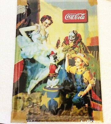 "COCA COLA ""Coke"" Circus Clown Dog Tin Metal Sign Perfect Man Cave Wall Hanger"