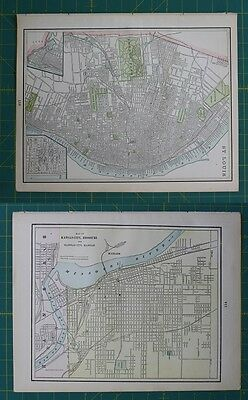 St. Louis, MO Kansas CIty, MO Vintage Original 1897 Cram's World Atlas Map
