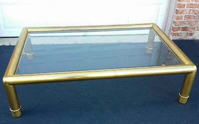 "Vintage Hollywood Regency Mastercraft Brass Tube Large Coffee Table 60"" Long"