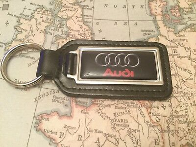 AUDI Quality Black Real Leather Keyring Oblong A 1 2 3 4 5 6 7 8 R Q S RS