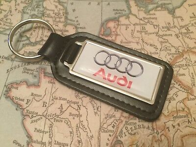 AUDI Quality Black Real Leather Keyring Oblong WHITE A 1 2 3 4 5 6 7 8 R Q S RS
