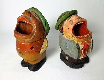 Anri (Italy) Vint. Folk Art Wooden Toothpick Holders Big Mouthed Men Caricatures