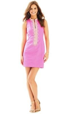 dffe1a6c2a596b NWT Lilly Pulitzer Alexa Shift Pink Fusion Gold Embroidery Shift Dress Sz 00