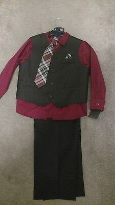 Boys Dockers 4 piece Suit Red Christmas Size 6 Wedding Dress Up Church NEW
