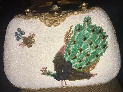 Vintage 1960's Adele Handbag, Lucite Handles, Embroidered Beads Peacock.