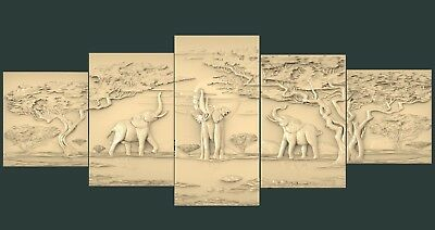(1101) STL Model Elephants for CNC Router 3D Printer Artcam Aspire Bas Relief