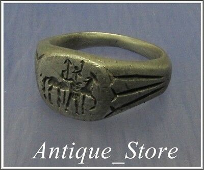 ** LEGIONAR with HORSE ** Ancient Silver LEGIONARY Roman  Ring ** VERY RARE **