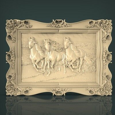 (1116) STL Model Horses for CNC Router 3D Printer Artcam Aspire Bas Relief