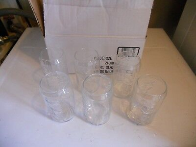 Coca-Cola set of 6 can shaped glasses new in box. Clear 12oz.