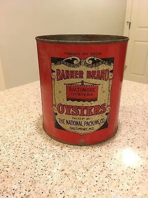 Banner Brand Oyster Tin Can - National Packing Co. - MD 22 - Baltimore, Maryland