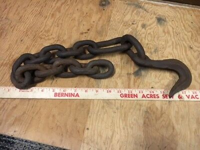 "Approx 33"" Primitive Logging Chain W/ Hook IA Barn Find Rustic Salvage Repurpose"