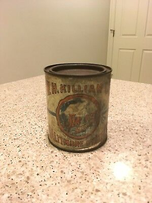 W.H. Killian Co. Pint Oyster Tin Can - Baltimore Oysters - MD 12 Mermaid Antique
