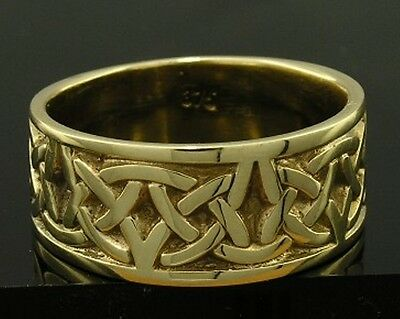 R280-Genuine SOLID 9K Gold HEAVY WIDE Celtic BAND Ring size W 11 sizable Wedding