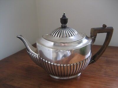 Antique Silver Plated Teapot - English Hallmarked C F & Co - Wood Handle and Top