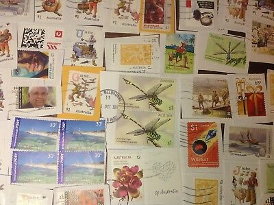 KILOWARE AUST. 70c to $1.00 STAMPS x 500+ RECENT ON PAPERS, SOME UNFRANKED.
